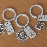 ON SALE 3 Key chains with Anchor, Rudder, Compass and Friends charms. Sisters gift, Best Friends Gift,  Christmas