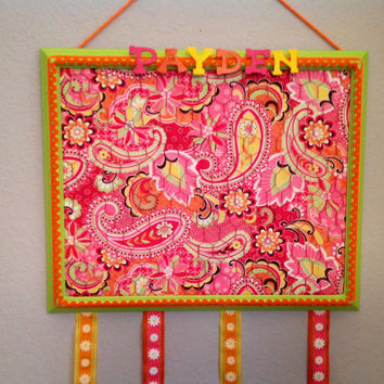 Hair bow holder jewelry photo accessory organizer bulletin memo memory board paisley bedroom decor teen orange purple green yellow hot pink