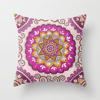 Star Blossom Mandala Throw Pillow by PeriwinklePeacoat