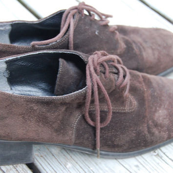 Vintage 80s 90s Borelli Chocolate Suede Lace Up Chunky Oxfords Heels Menswear Jazz Shoes Size 8 Medium