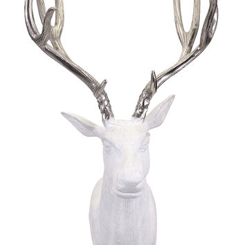 Chic Bowen White and Silver Deer Wall Mount