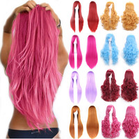 "Rainbow Color Women's Halloween Cosplay Wigs Heat Resistant 32"" 80cm Black Blonde Purple Pink Red Curly Wig Party Anime"