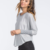 Mimi Chica Dolman Womens Hi Low Thermal Grey  In Sizes