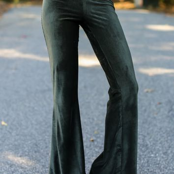 Fringe Handle With Flare Green Pants