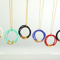 Three Leather Bands Necklace - Choose Your Favorite Color!!