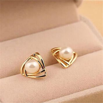Jewelry Gold White Simulated Pearl Stud Earrings