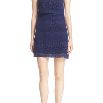 Alice + Olivia 'Inez' Collared Lace Popover Bodice Shift Dress | Nordstrom