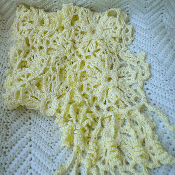 Crocheted Irish Knit Lace Scarf  Soft Yellow