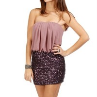 Purple Drape Sequin Tunic