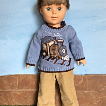 18 Inch Boy Doll Sweater and Corduroy Pants, Train Sweater, Tan Corduroy Pants, 18 inch Boy Doll Clothes, Winter Doll Clothes, Upcycled