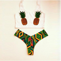 Pineapple Pattern Bikini Set Push-up Beach Wear Two Pieces Swimwear