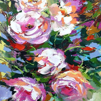 Pionies 2. High Quality Print on Canvas, Dmitry Spiros, living room decor wall art, home decor, house decor. flowers painting.