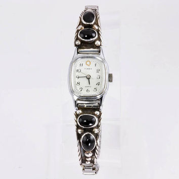 Ladies Timex Watch with Sterling Silver and Onyx Watch Tips - Signed DN