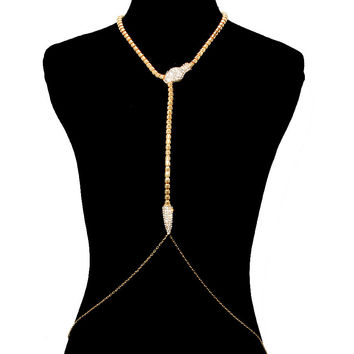 Bling Rhinestone BIG SNAKE DRAPE Statement BODY CHAIN Metal Link Chain