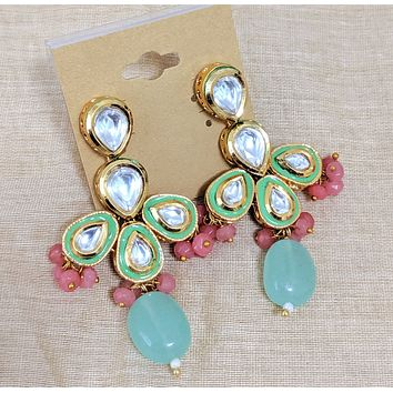 Tear drop Kundan stone with natural stone and crystal bead Earring