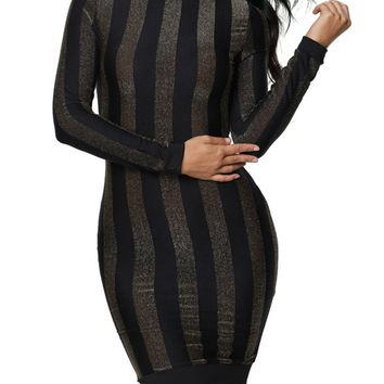 Casual Band Collar Vertical Striped Long Sleeve Bodycon Dress