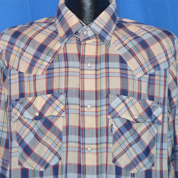 80s Levi's Navy Blue Multi Plaid Western Pearl Snap Cowboy Shirt Large Regular Fit