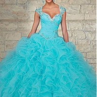 Buy discount Chic Tulle & Organza Sweetheart Neckline Floor-length Ball Gown Quinceanera Dress at Dressilyme.com