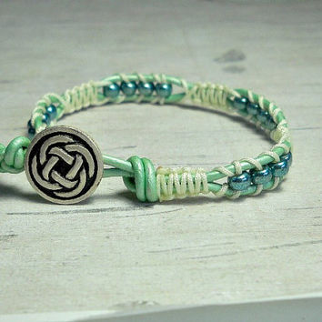 Mint Green Macrame Bracelet, Beaded Bracelet, Stacking Bracelet, Womens Bracelet