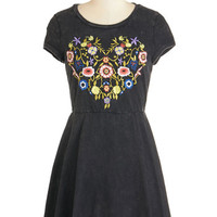 Short Length Cap Sleeves A-line This Bold Heart of Vine Dress