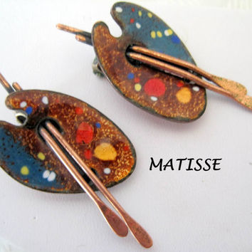 Matisse Renoir Earrings  Copper Artist Palette