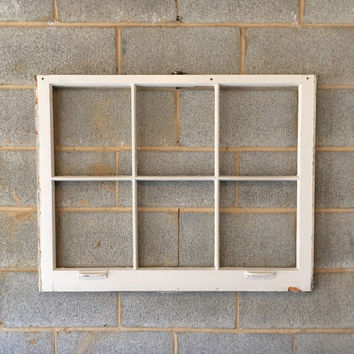 NO GLASS Vintage 6 Pane Window Frame - Off White, 36 x 28,  Rustic, Wedding, Beach, Home, Decor, Photos, Pictures, Christmas, Holiday Decor
