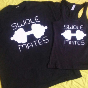 Free Shipping for US SWOLE MATES Matching Couples Tank Tops/Shirts Black