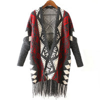 Women Warm Geometric Knitted Tassel Cardigan Sweater
