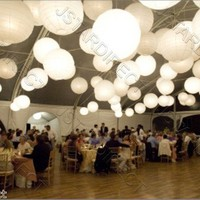 "2/5/10 White/Ivory Round Paper Lantern 8""10""12""16"" Wedding Party with Led Light"