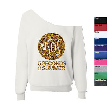 5 Seconds Of Summer - Off Shoulder Wide Neck Slouchy Oversized Sweatshirt 5 SOS XS-XXL Image is Cheetah Print Sweatshirt is Available in 10 colors