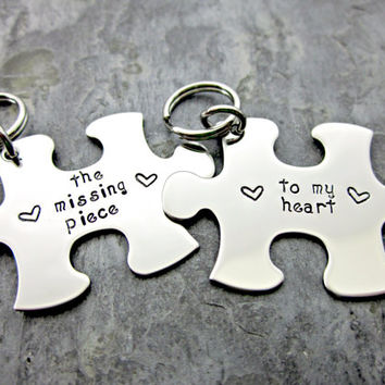 The Missing Piece to My Heart - Couple's Matching Keychains - Interlocking Puzzle Pieces