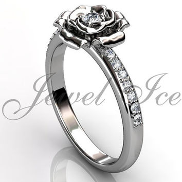 Flower Engagement Ring - 14k white gold diamond unusual unique flower engagement ring, wedding ring, anniversary ring ER-1121-1