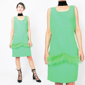 1960s Maribou Feather Trim Dress Acid Lime Neon Green Mini Dress 1960s Christmas Party Dress Costume Sleeveless Drop Waist Dress (M/L)