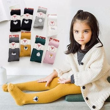 Embroidery Cartoon Children Girl Pantyhose Stockings, Soft Cotton Warm Tights For 2-12 Years Old Kids (1 Pair) Yellow/2-3T