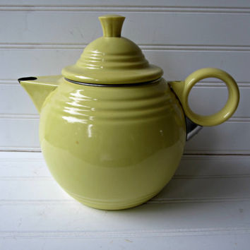 Vintage Fiesta Teapot Homer Laughlin Yellow Metal Enamelware