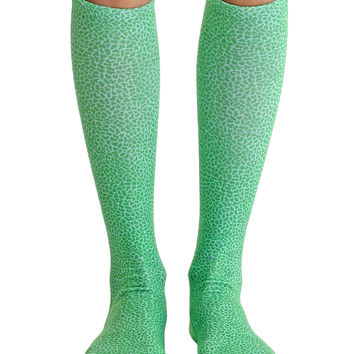Pebble Green Knee High Socks