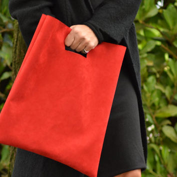 Shopper in red suede / handbag / purse woman / shopping bag / purse minimal / elegant bag for woman