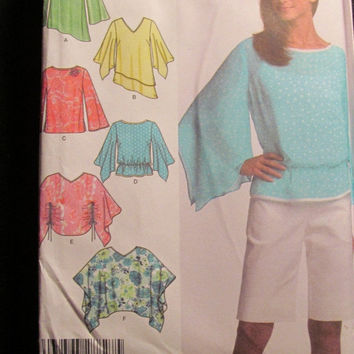 Sale Uncut Simplicity Sewing Pattern, 4700! 14-16-18-20 Medium/Large/women's/Misses/Poncho Tops/Loose Fitting Blouses/Flared Sleeves/Hippie