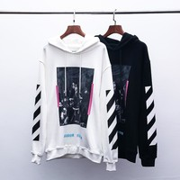 OFF-WHITE autumn and winter new tide brand religious oil painting men and women hooded sweater white