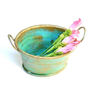 Miniature Weathered Oval Pail in Patina Dollhouse Fairy Garden Wash Tub Accessory