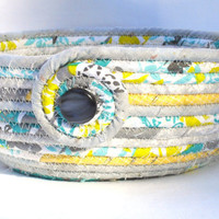 Yellow and Gray Coiled Fabric Bowl
