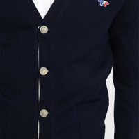 Maison Kitsuné Blue Navy Petersham Button Placket Cardigan
