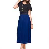 Summer Classic Casual Short Sleeves Midi Dress for Women