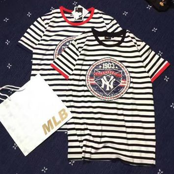 MLB Woman Men Casual Stripe Print Scoop Neck Tunic Shirt Top Blouse