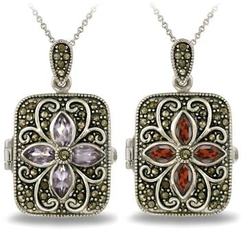 Silver Tone Gemstone Flower Marcasite Locket Necklace, 2 Colors