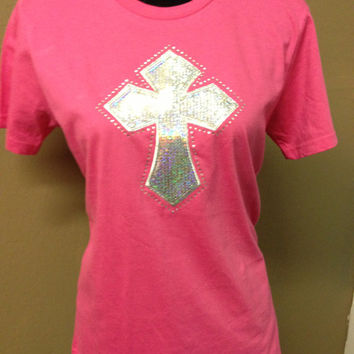 Pink Cross Bling Shirt by CheeksLittleBoutique on Etsy