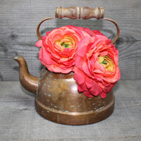 Vintage Copper Teapot Tagus R51 Portugal with Wood Handle Rustic