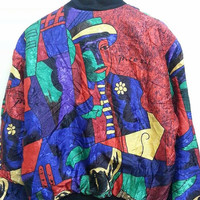 Awesome Vintage 1980s 90s Picosio Charlie Chaplin Neon Colorfull Bomber Jackets