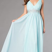 V-Neck Floor Length Sleeveless Dress