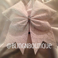 White Lace Cheer Bow by BlingNBoutique on Etsy